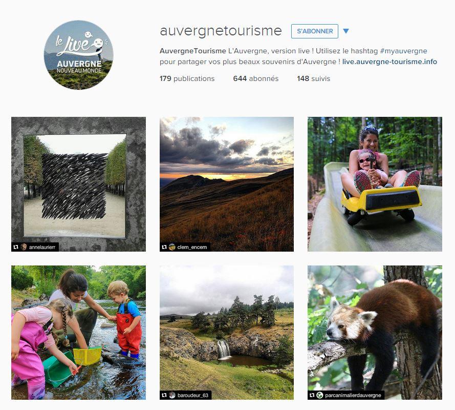 Reposts d'utilisateurs sur le compte Instagram Auvergne tourisme.