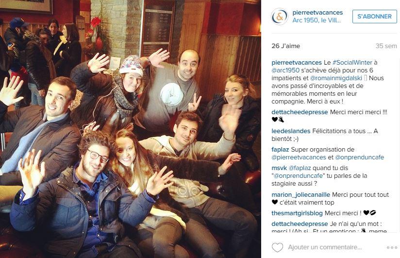 Mise en avant de la communauté sur le compte Instagram de Pierre & Vacances.